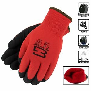 Safety Winter Insulated Double Lining Rubber Coated Work Gloves bgwans rd