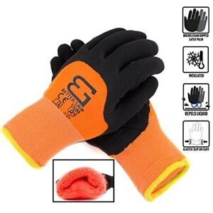 Safety Winter Insulated Double Lining Rubber 3 4coated Work Gloves bgwans3 4 or