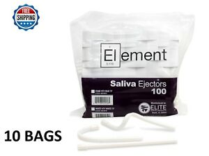 1000 Pc Element Saliva Ejector White W White Tip Bendable Dental Disposable 6