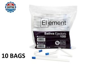 1000 Pc Element Saliva Ejector Clear W blue Tip Bendable Dental Disposable 6