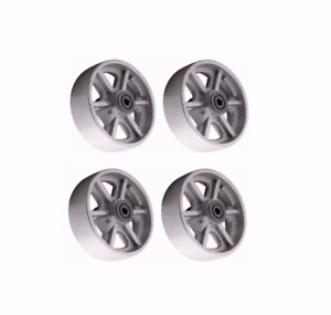 Set Of 4 Heavy Duty Cast Iron Spoked 8 X 2 Wheels 3 4 To 1 2 Roller Bearing