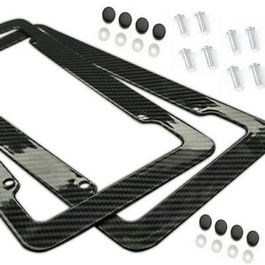 Plastic Carbon Fiber Style License Plate Frames For Front Rear Braket 2pc Set