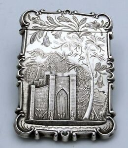 American Coin Silver Card Case Castle Cathedral Unmarked