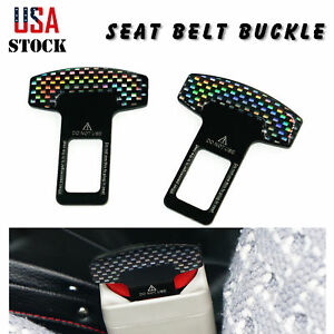 2 X Universal Car Safety Seat Belt Buckle Alarm Stopper Clip Carbon Fiber Clamp