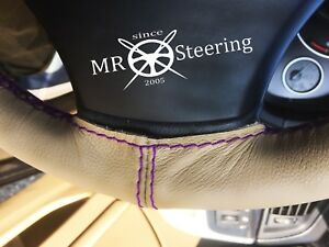 Fits Rover 10 Beige Leather Steering Wheel Cover 1933 1947 Purple Double Stitch