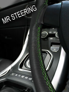For Hudson Hornet Black Leather Steering Wheel Cover 1950 57 Green Double Stitch