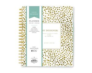 Twin wire Bound 2017 2018 Academic Year Daily Monthly Planner gold Spotty Dot