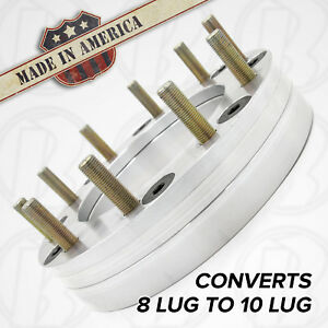 8 Lug To 10 Lug Ford 8x225 To 10x225 Wheel Adapters 2 Spacers Fits Rear