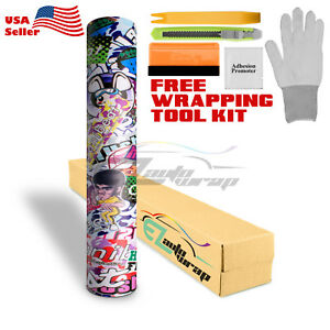 premium Sticker Bomb Vinyl Wrap Decal Film Graffiti Cartoon Jdm Usdm Diy hf