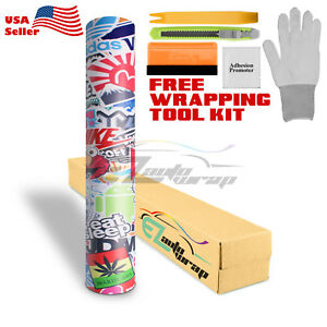 premium Sticker Bomb Vinyl Wrap Decal Film Graffiti Cartoon Jdm Usdm Diy es