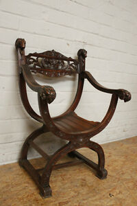 1112003 Antique French Carved Renaissance Carved Dagobert Arm Chair