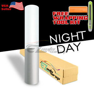 12 x48 Reflective White Vinyl Wrap Sticker Decal Graphic Sign Adhesive Film