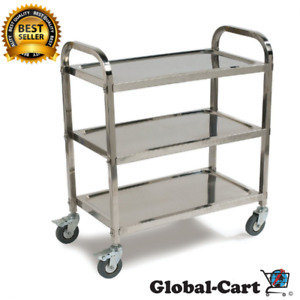 3 Shelf Utility Service Cart Sturdy Stainless Steel W Soft Rubber Bumps 400 Lbs