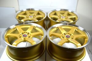 18 Gold Wheels Rims Es350 Gs300 Tl Mkz Accord Legend Eclipse Camry Civic 5x114 3