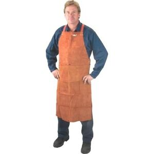 Leather Welding Bib Apron 36 Lava Brown