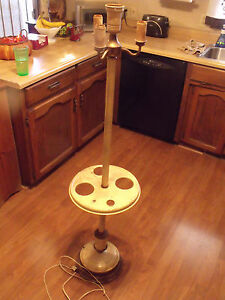 Antique Vtg Art Deco Victorian Lighted Base Floor Lamp Metal Smoking Stand Abco