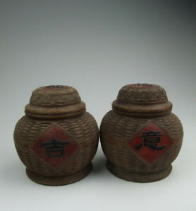 One Pair Of Later Chinese Antique Yixing Ware Zisha Pottery Jars