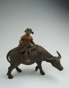 Later Chinese Antique Yixing Ware Zisha Pottery Cowgirl And Cow