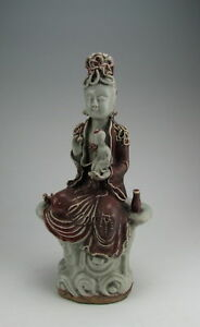 Chinese Antique Red Underglaze Porcelain Kuanyin Buddha
