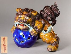 Japanese Old Foo Dog Statue Kutani W 27 H23 Cm