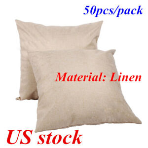 Hot Sale 50pcs 16x16in Linen Sublimation Blank Pillow Case Cushion Cover usa