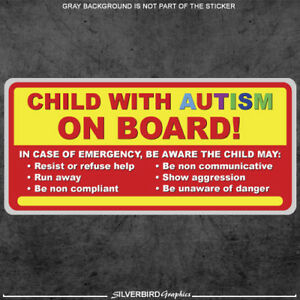 Child With Autism On Board Sticker Decal Autistic Awareness Vehicle Bumper Car