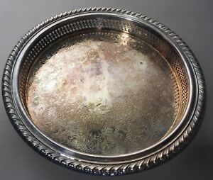 Vintage Wm Rogers Silverplate 9 5 Wide Round Etched Serving Tray Kitchen Decor