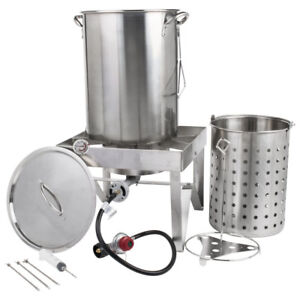 Backyard Pro 30 Qt Stainless Steel Turkey Deep Fryer Kit Steamer Pot Propane