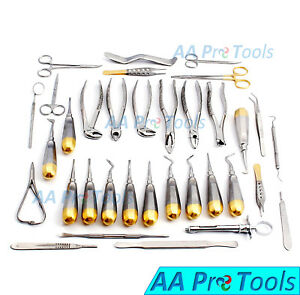 74 Oral Dental Surgery Extracting Elevators Forceps Instrument Kit Set