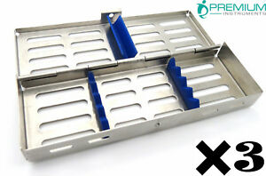 3 Surgical Sterilization Cassette For 7 Dental Lab Stainless Steel Instruments