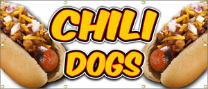 Chili Dogs Banner Hot Dog Fries Burger Nachos Philly Sausage Onion Rings 36x84
