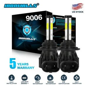 Ironwalls 9006 Hb4 Led Headlights Bulbs Kit Low Beam 1500w 225000lm 6000k White