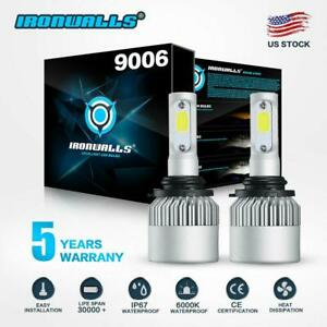 Ironwalls 9006 Hb4 Led Headlight Bulbs Kit Low Beam 6000k 1300w 195000lm White