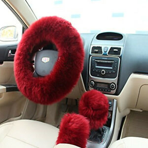3pcs Fur Wool Furry Fluffy Thick Car Steering Wheel Cover Red Wine Color Winter