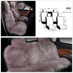 Long Wool Natural Plush Winter Warm Car Seat Cover Protector Cushion Bean Paste