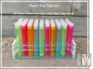 Test Tube Party Pack 50 hole Rack With Assorted Color 5 Plastic Test Tubes And