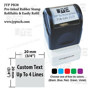 Square Jyp Pb20 Pre inked Rubber Stamp W Custom Text Up To 4 Lines 3 4