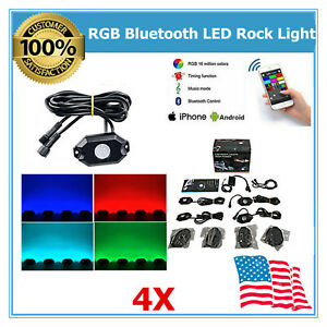 4x Pods Led Rock Light Bluetooth Music Rgb Color For Under Car Lights Jeep Suv