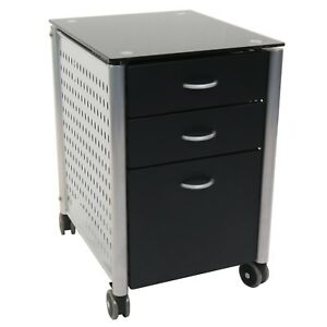 Mobile Filing Cabinet Storage Drawers Caster Wheels Home Office Cart Black Glass