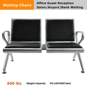 2 seat Steel Bench Salon Area Airport Reception Waiting Room Chair Pvc Cushion