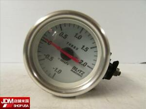 Jdm Blitz Racing 1 0 2 0 Kpa Aftermarket White 60mm Turbo Boost Pressure Gauge