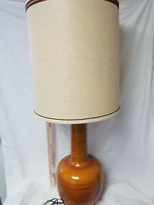 Hot Mid Century Danish Modern Atomic Orange Table Lamp Vtg 50 S