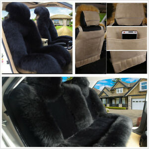 3pcs Genuine Sheepskin Car Seat Covers Protector Cushion Winter Warm Comfortable