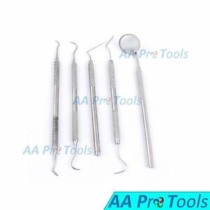 Dental Kit Stainless Steel Dentist Pick Tools Kit 5 Pieces