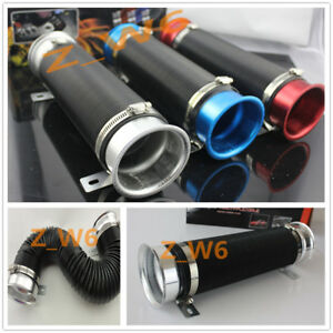 3 Inch Silver Flexible Short Ram cold Air Intake Duct Turbo Black Tube Pipe Hose