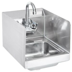 Stainless Steel Hand Sink With Side Splashes Nsf Wall Hung