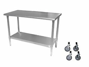 Stainless Steel Work Prep Table With 4 Casters wheels 14 X 84