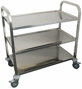 Dining Utility Service Cart 29 X 17 Stainless Steel 3 shelf Heavy Duty