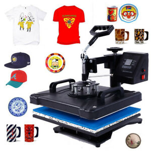 5in1 Heat Press Transfer Sublimation Machine Diy Pattern T shirt Cup Hat Plate