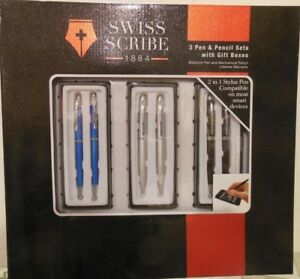 Swiss Scribe 3 Pen And Pencil Sets With Gift Boxes blue Black